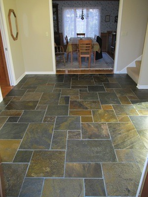 Slate tile entryway creative tile works for Tile for entry foyer