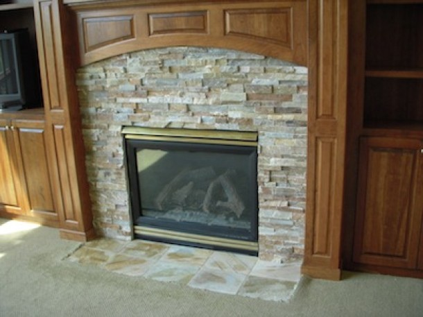 Gas Fireplace Stone Surround Tile Contractor Creative Tile Works Bathroom Remodeling