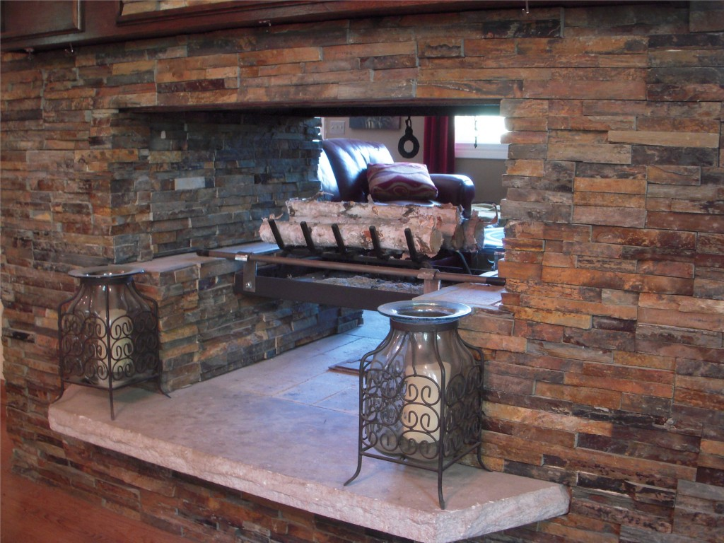 Custom Granite : Custom stone fireplace