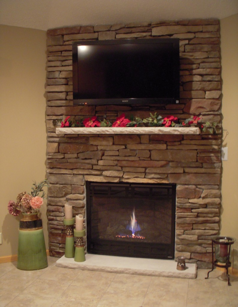 Stone Fireplace With Mounted TV Tile Contractor