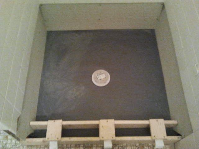 Shower floor repair pan liner curb and finish coat tile contractor creative tile works - Shower base liner ...